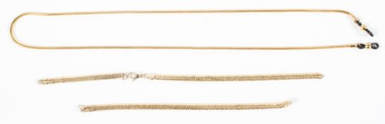 A yellow metal necklace chain, marked 9k/375 (af) 19g,