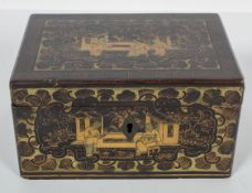 A Chinese lacquered box, decorated with figures, circa 1900,