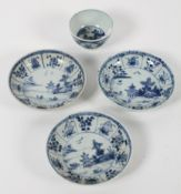 A Chinese blue and white tea bowl and three saucers, 18th century,