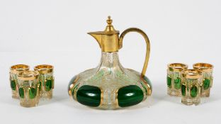 A Bohemian brass mounted glass decanter and six tumblers, late 19th century, of lobed form,