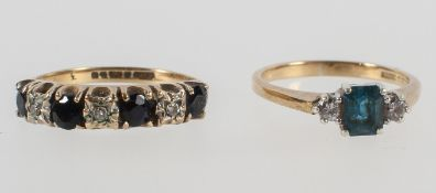 A yellow metal half hoop ring set with sapphires and single cut diamonds,