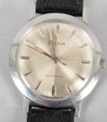 A stainless steel self winding Bulova wristwatch.