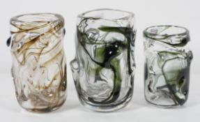Three Whitefriars knobbly vases, designed by Geoffrey Baxter, with green internal streaking,