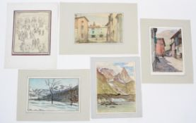 Giorgio Matteo Aicardi (1891-1984), Inverno in Piemonte - and three others, pencil and crayon,