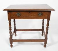 A 17th century and later oak side table, the moulded rectangular top above single frieze drawer,