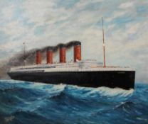 C G Molloy, 'The Lusitania at Full Steam', oil on canvas, signed lower left and dated 1918,