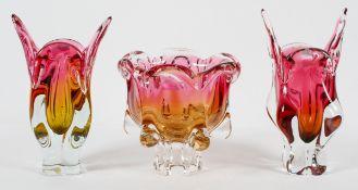 Two Chribska (Czech) Art glass vases, and a footed bowl, designed by Josef Hospodken, circa 1960,