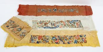 Four early 20th century embroidered silk panels, on yellow, ivory and pale red silk,