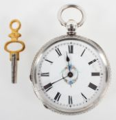 An open face pocket watch. White circular dial with floral design and Roman numerals.