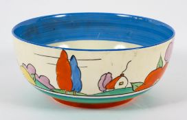 A Clarice Cliff 'Poplar' pattern bowl, circa 1930, printed Bizarre marks, Newport, painted in blue,