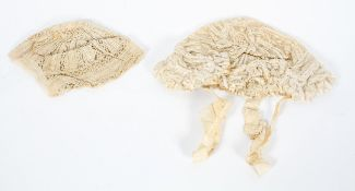 A Victorian silk and lace Christening cap,