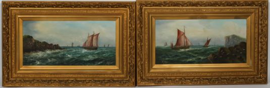 F Johans, 20th century School, a pair of Maritime paintings, oil on canvas,