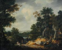 A late 18th/early 19th century Oil on canvas landscape of a woodland with figures