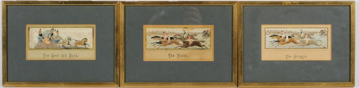 """Three Victorian Stevengraphs entitled """" The good old days"""","""
