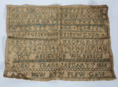 A Victorian needlework sampler, by Lucy Anderson Wilkinson, Aged 6 years, January 7 1826,