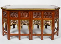 A large Moorish style coffee table of octagonal form,