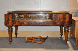 A mid 19th century mahogany square piano, makers label for Peter Mackellar, maker to Her Majesty,