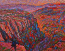 Paul Stephens, Cheddar Gorge setting sun (series), oil on panel, signed lower right, framed,