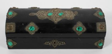 A French ebonised coffer-shaped stone set casket and cover, late 19th century,