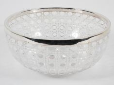 An Edwardian hobnail cut glass bowl with star cut base and EP rim,