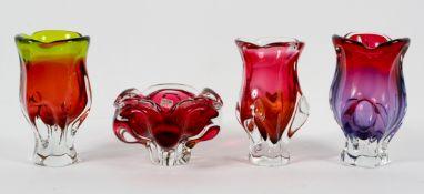 Three Chribska (Czech) Art glass vases, and a bowl, designed by Josef Hospodken, circa 1960,