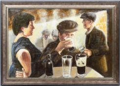 Ken White (b 1943), Figures Drinking in the Great Western Railway Working Mens Club, oil on canvas,