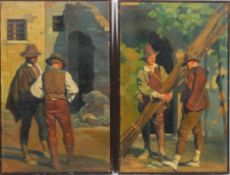 Giorgio Matteo Aicardi (1891-1984), A pair of Street scenes with workmen, oil on canvas, signed,