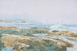 Doug Wright, an original watercolour showing Lobster fisherman at sea off the coast of Maine, USA,
