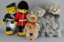 A group of five toy bears, comprising Charlie Bears and two Merrythought examples,