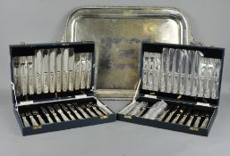 A large silver plated tray,