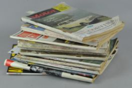 A collection of vintage Auto Car magazines, including 1959 Mini launch cover,