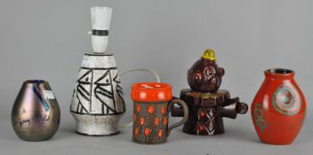 A collection of 1960's Italian pottery, to include a Clown money box, Holt Howard tulip glazed mug,