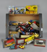 A collection of assorted model cars, including Corgi classics Bedford type OB coach,