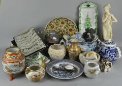 A large parcel of ceramics, including Jasperware, a satsuma two handled vase and other items,