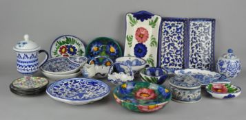 A large collection of assorted blue and white ceramics