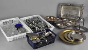 A large collection of silver plated wares, including coasters,