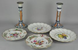 A pair of unusual Masons Ironstone candlesticks, together with two Meissen plates and two others,