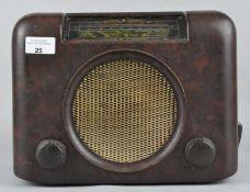 A vintage Bakelite Bush radio, DAC 90A serial number 73/7796B,