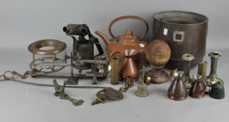 A group of assorted metalware, including a vintage blow torch, pair of silver plate candlesticks,