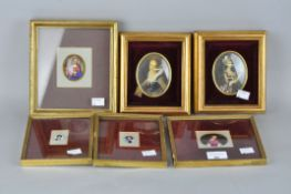 A collection of miniatures, mainly on porcelain,