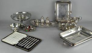A collection of assorted silver plated items, including cased set of knives,