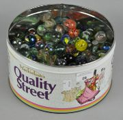 A large collection of vintage marbles of various shapes and sizes