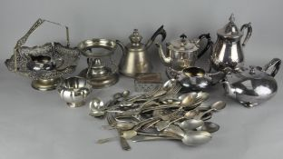 A large assortment of silver plated items, including flatware,