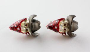 A pair of sterling silver cowboy skull cufflinks. Hallmarked sterling silver, Birmingham, 2017.