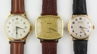 A collection of three wristwatches to include: A gold plated Avia mechanical watch