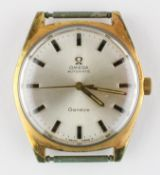 A gold plated Omega automatic wristwatch. Circular 34.0mm dial; silver with baton markings.