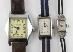 A collection of three wristwatches to include: A hallmarked sterling silver cased cocktail watch