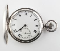 A half hunter pocket watch. Circular white dial with roman numerals.