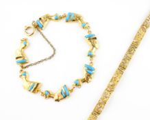 A yellow metal bracelet stylized as linked sections designed as Nefertiti and set with commercial