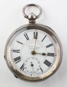 An open face pocket watch. Circular white dial with roman numerals; signed I G Graves, Sheffield.
